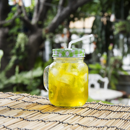 relive: Ice Chrysanthemum tea on garden background