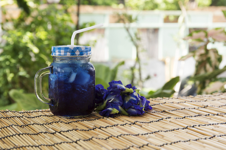 pea shrub: Asian pigeonwings (Butterfly Pea) juice  refresh Thai herb cold drink Stock Photo