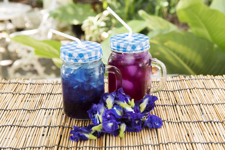 pigeon pea: Asian pigeonwings Butterfly Pea juice  refresh Thai herb cold drink Stock Photo