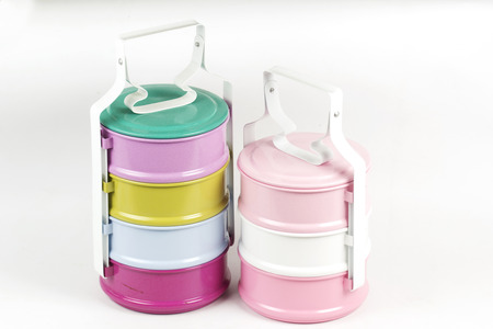 tier: Colorfull Three tier food container  Isolated on white