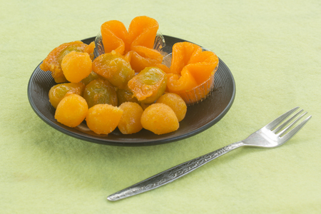yoke: egg yoke fudge balls cooked in syrup  Thai sweet desert Stock Photo