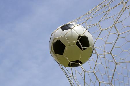 goal net: Soccer foot ball in the goal net