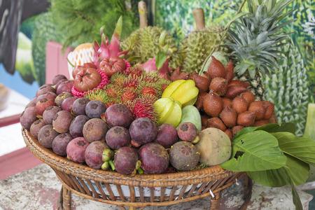 Tropical Fruit in the basket selective focus Reklamní fotografie