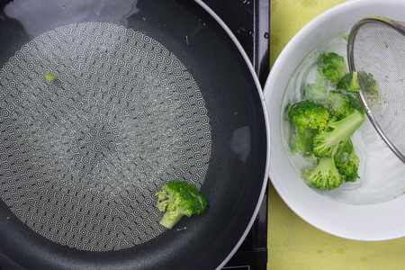 scald: Chef scald broccoli with hot water  cooking steak concept