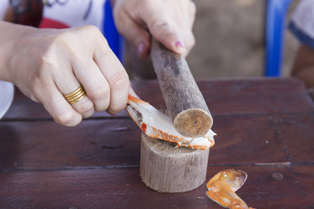 prepared shellfish: Hand knocked claw of crab with wood Stock Photo