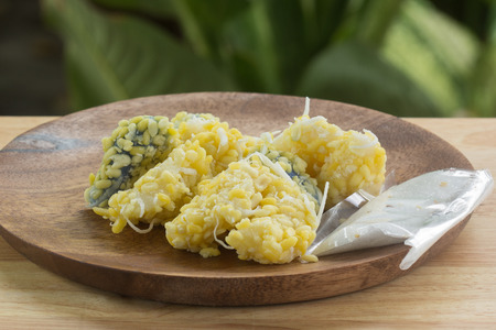 mung bean rice-crepe  mung bean with sticky rice crepe and coconut, sugar  Thai Dessert Stock Photo