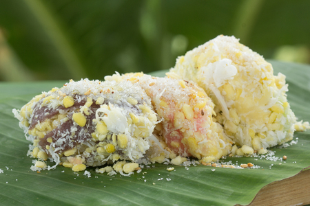 coconut seedlings: mung bean rice-crepe  mung bean with sticky rice crepe and coconut, sugar  Thai Dessert Stock Photo
