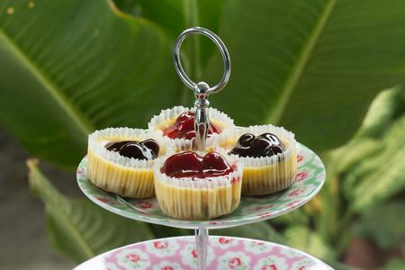 Blueberry and strawberry cheese cake in catering food Stock Photo