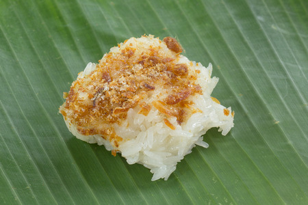dessert topping: THai dessert  sticky Rice with Sugar dried fish topping