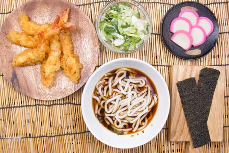 Chef decorated tempura udon  Cooking Tempura Udon concept