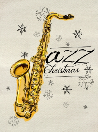 Jazz Christmas Painting Saxophone photo