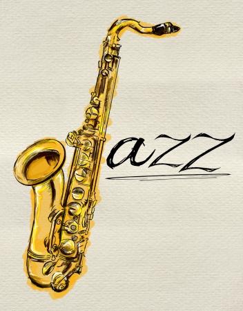 ジャズ サックス絵画 写真素材