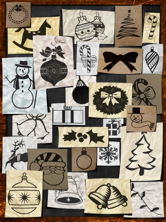 Christmas paper ornament on blackboard background photo