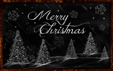 メリー クリスマスのあいさつ黒板 写真素材