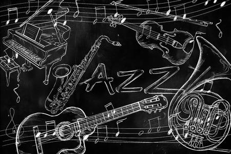 Jazz instruments music background photo