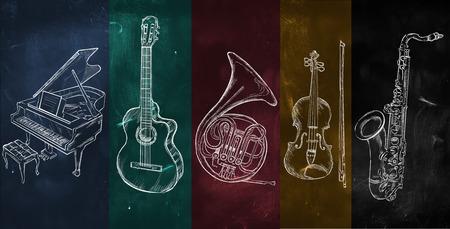 Art Instruments music background on blackboard Stockfoto