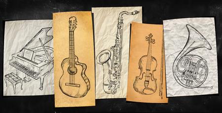 musik hintergrund: Kunst Instruments Musik-Hintergrund
