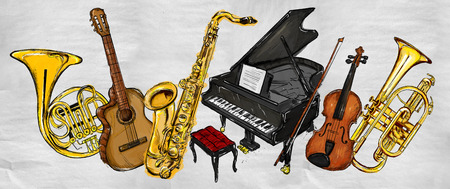 Painting Music Instruments - Musical Background photo