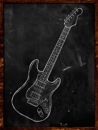 Electric Guitar drawing on blackboard photo