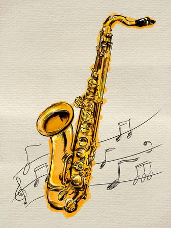 Saxophone Painting Image photo
