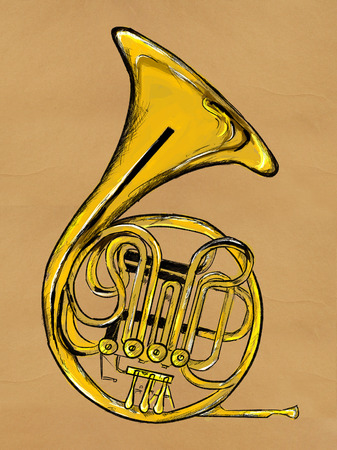 french horn: French horn Painting Image Stock Photo