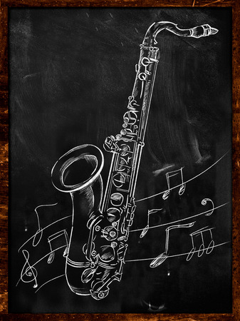 saxof�n: Saxof�n dibujo dibujar en la pizarra Foto de archivo