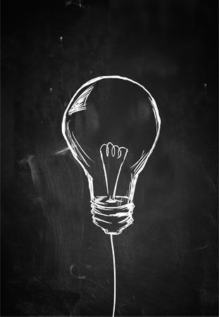 黒板に単一の電球スケッチ 写真素材