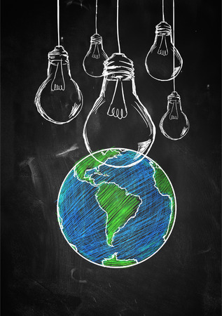 Light up the world sketch blackboard Stock Photo