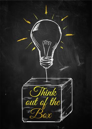 out think: Piense fuera de la bombilla bosquejo cuadro Foto de archivo
