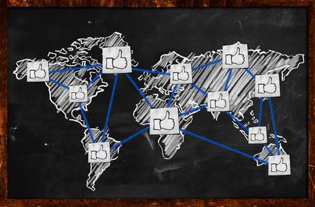 World thumb up Connection on Blackboard photo