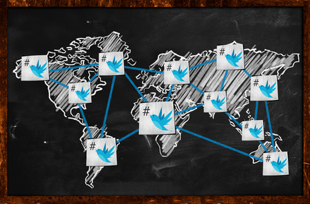 World twitter Connection on Blackboard photo