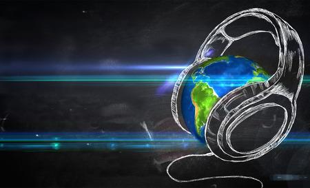 地球音楽黒板背景