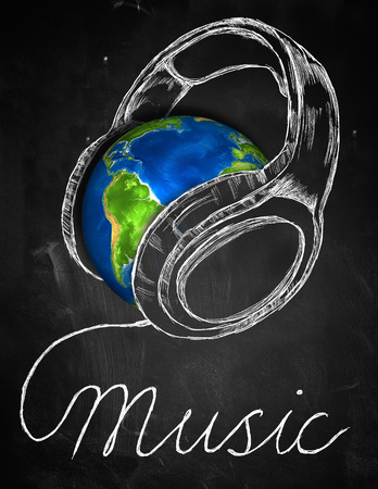 Music Earth Headphone Background photo