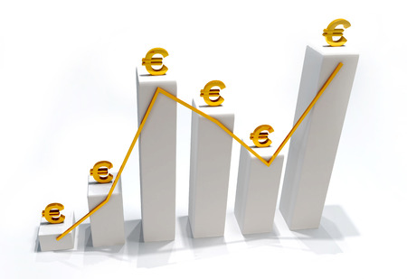 fluctuate: Fluctuate Euro Currency 3D Stock Photo