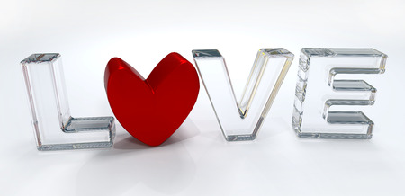 love image: Love Red and Glass 3D image