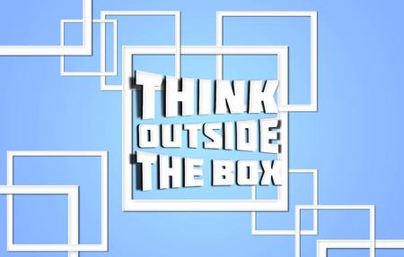 think outside box: Think outside box blue Stock Photo