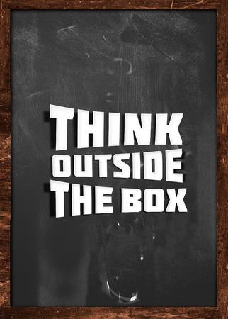 think outside box: Think outside box blackboard Stock Photo
