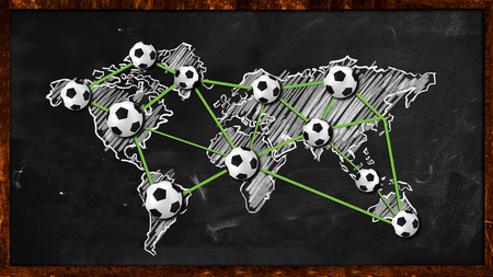 World ball Connection on Blackboard photo