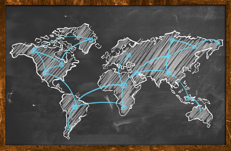 World map networking blue chalk photo