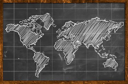 世界地図チョーク図面黒板