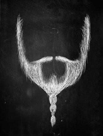 Braid beard sketch on blackboard Stock Photo
