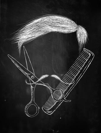 Hair Scissors comb mustache photo