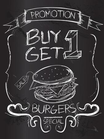 get one: Buy one Get one Burgers on blackboard Illustration