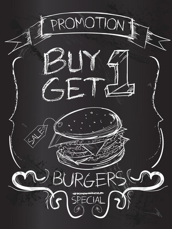 Buy one Get one Burgers on blackboard Illustration