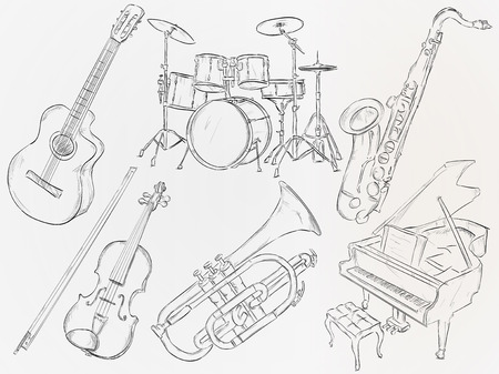 Music Instrument Sketch Vector Pack Vector