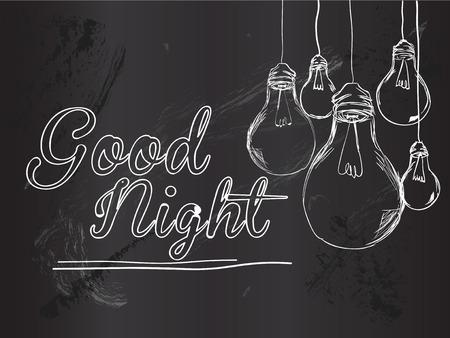 Bonne nuit de fond Ampoules Vector Banque d'images - 28600235