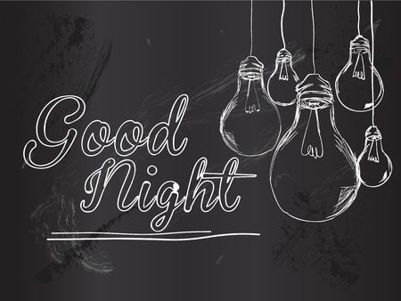 good night: Good Night Bulbi Vector Background Vettoriali