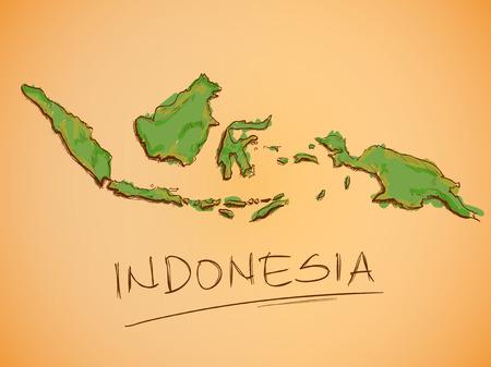 indonesien: Indonesien Karte Sketch Vector Illustration