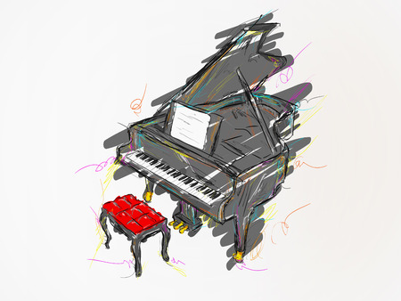 Piano Painting Vector Art