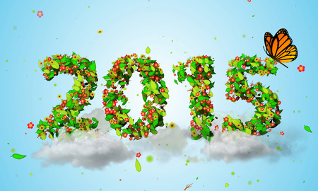 garden green: 2015 New Year Leaves Particles orange Butterfly 3D